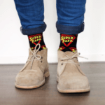 Zwarte super papa sokken met schoenen