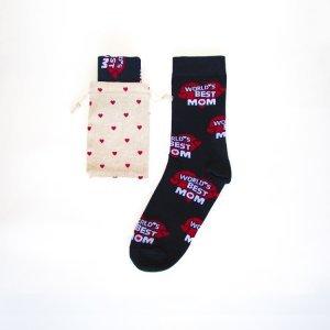 Moederdag sokken zwart worlds best mom sokken 1