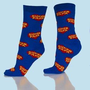 Super Papa sokken blauw omhoog